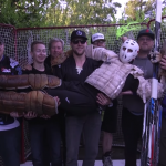 "The crew gets together after shooting one of Barber's notorious ""How To Goalie"" videos at The Ultimate Hockey Fan Cave"